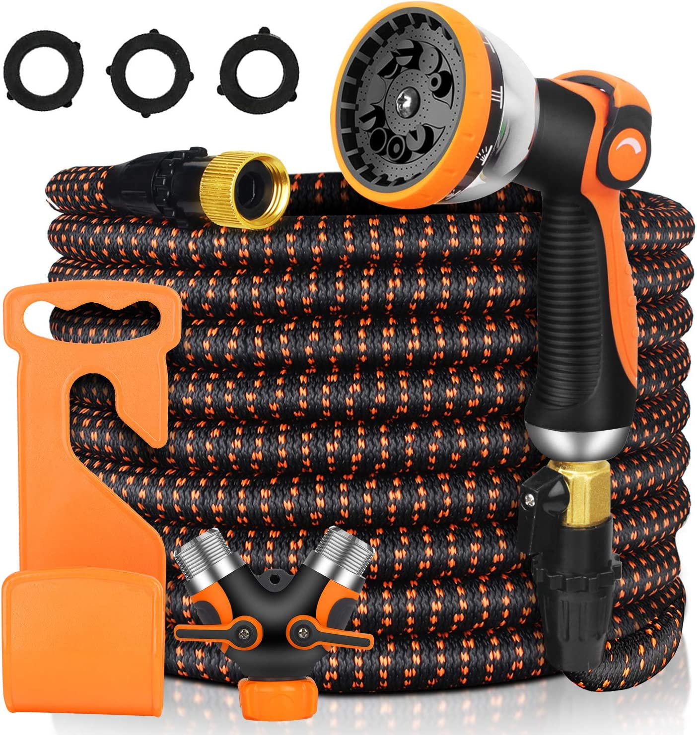 Garden Hose Expandable 100ft, Upgraded Garden Water Hose with Exquisite High-Density Fabric for Crack, Leak Resistant & 10 High-Pressure Spray Patterns for Watering Garden, Cleaning Car, Washing Pet