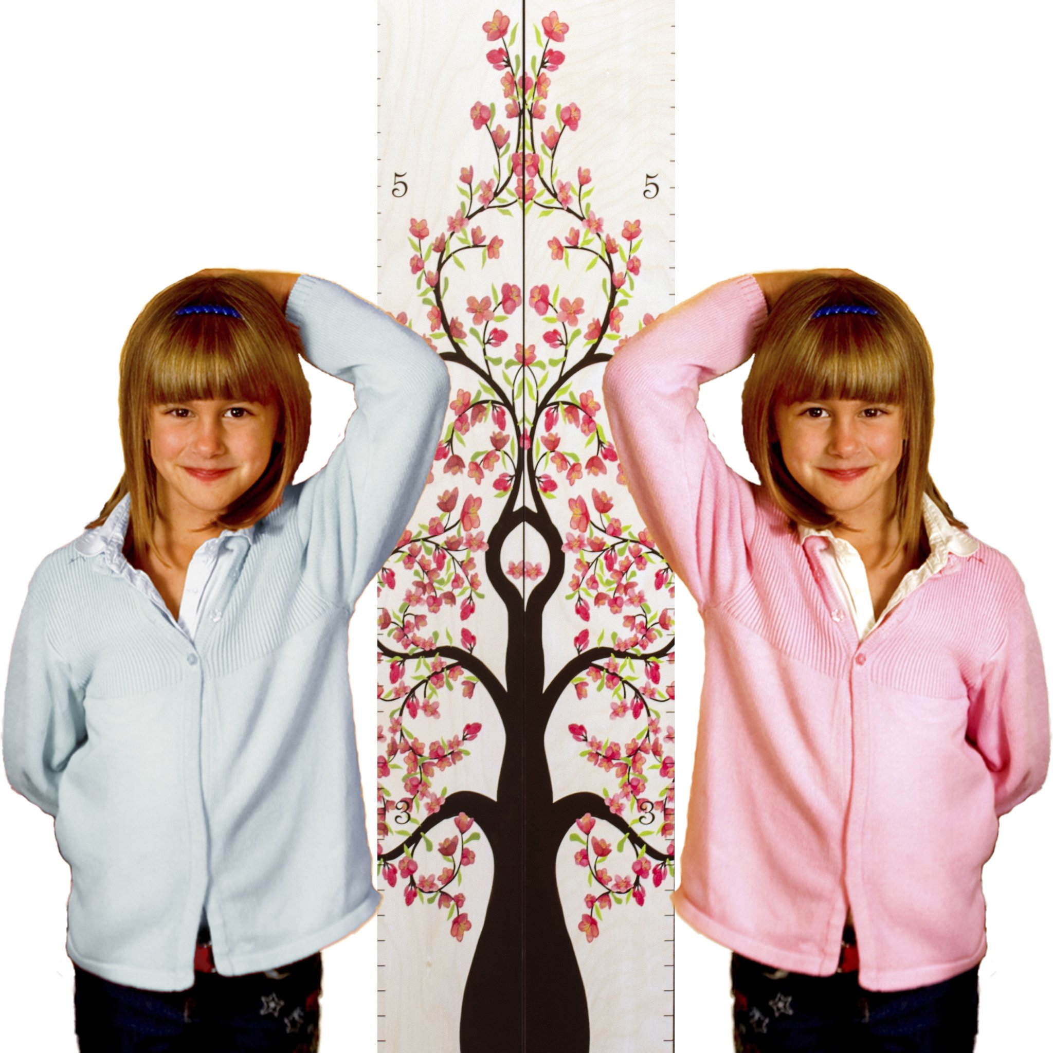 "Growth Chart Art | Hanging Wooden Height Growth Chart Pair to Measure Children, Grandchildren, Siblings, Twins - Pink Rose Flower Blossom Tree of Life Room Decoration for Girls - 58""x11.25"""