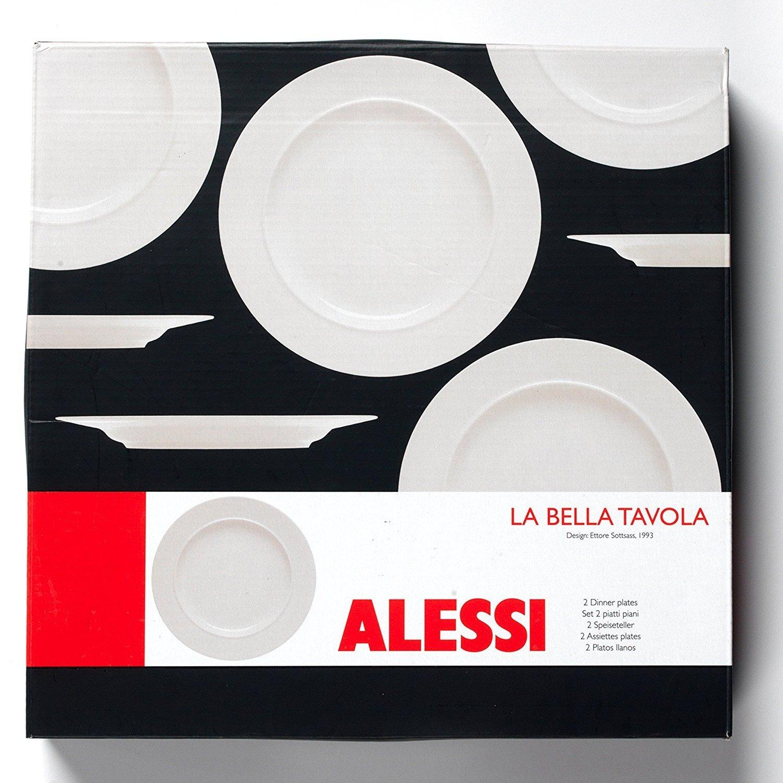 Alessi 1110301 La Bella Tavola - Juego de 2 platos llanos de porcelana, 27 cm, porcelana, 4 unidades: Amazon.es: Hogar