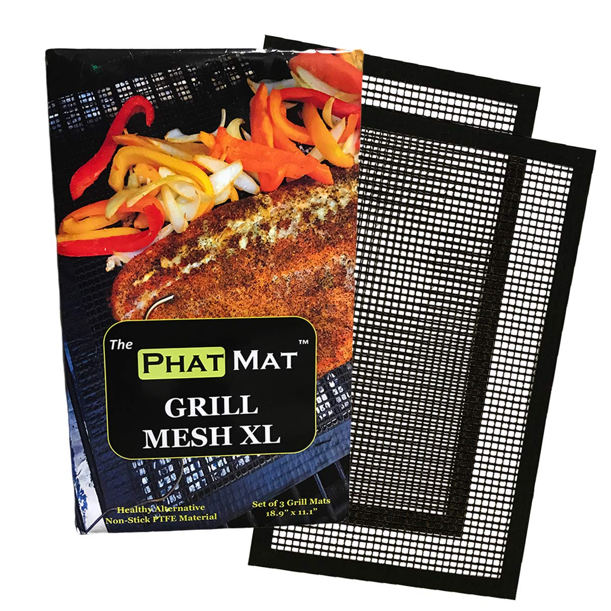 PhatMat Non Stick Grill Mesh Mats XL - Set of 2 - Nonstick Heavy Duty BBQ Grilling & Baking Accessories for Traeger, Rec Tec, Green Mountain, Smoker & Oven - 19 inches x 11 inches - Free Temp Guide by PhatMat