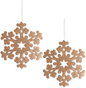 "DII Large Hanging Snowflakes with Golden Sparkle for Holiday Door & Wall Decoration, Enhance Your Décor for Home, School, Office, or Party (10.8L x 12.2""H) - Gold, Set of 2"