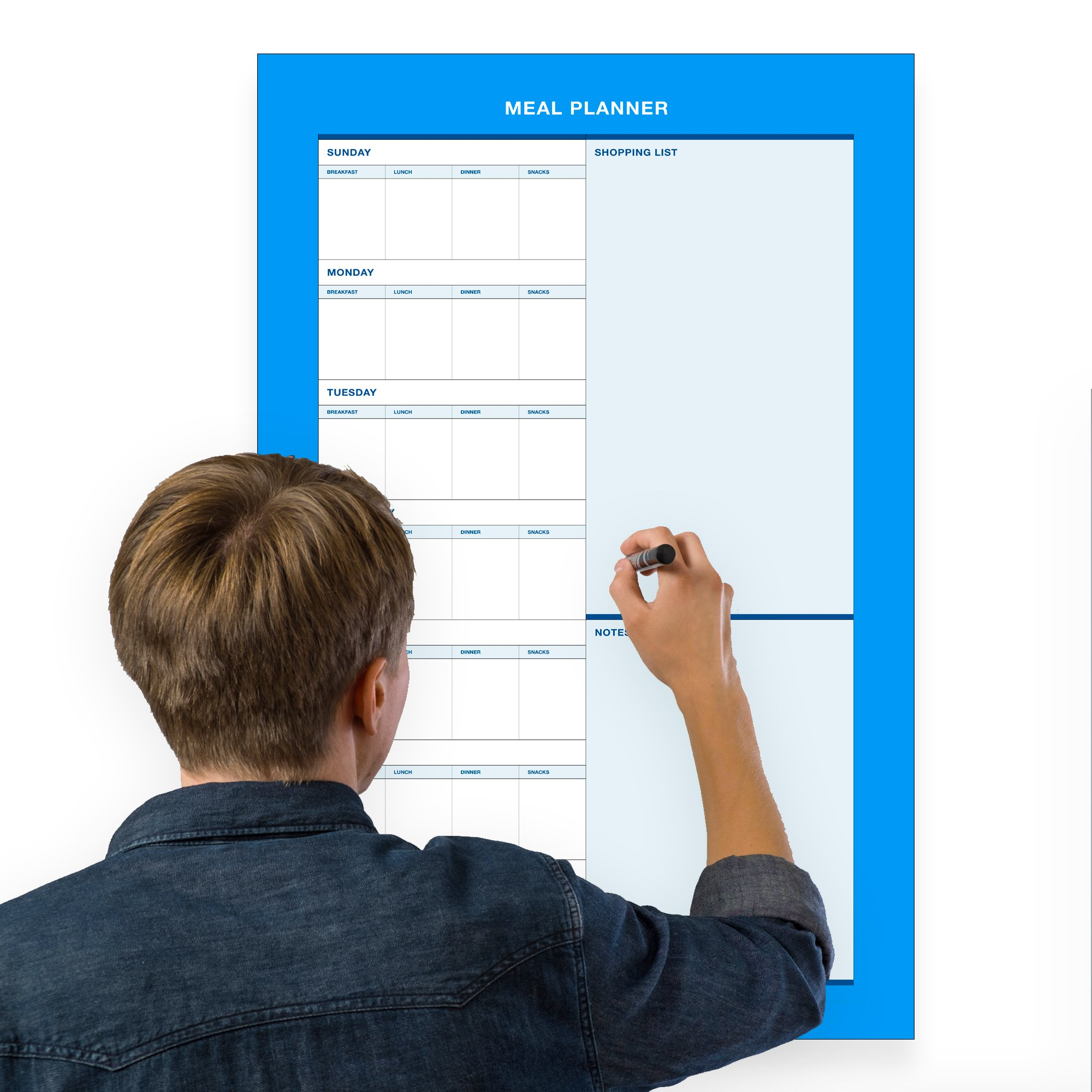 Erasable Weekly Meal Planner - 18''x27'' inch | Menu Prep for Kitchen Wall or Fridge Light Blue