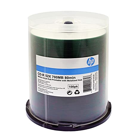 graphic relating to Hp Printable known as HP CD-R 52X 80 MIN White Inkjet Printable METALIZED HUB 100PK C/B