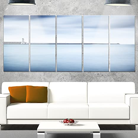 Designart Mt11333 401 Breakwater Soft Water Under Clouds Oversized Landscape Glossy Metal Wall Art Blue 60x28 Amazon In Home Kitchen