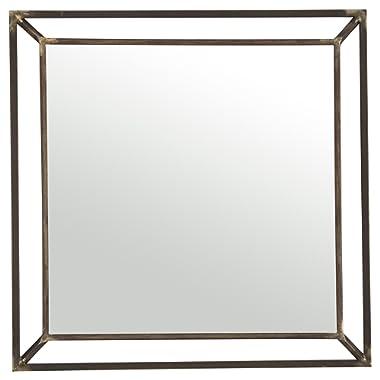 Rivet Beveled Metal Mirror, 24 H, Iron Finish