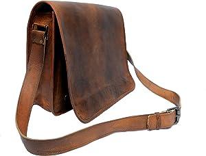 "15"" Inch Leather Messenger Bag | Business Leather Laptop Bag | Vintage Crossbody Handmade Bag | for Men & Women by Indian Hando Art"
