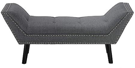 Cortesi Home Herman Ottoman Bench in Gray Fabric with Nailhead Trim