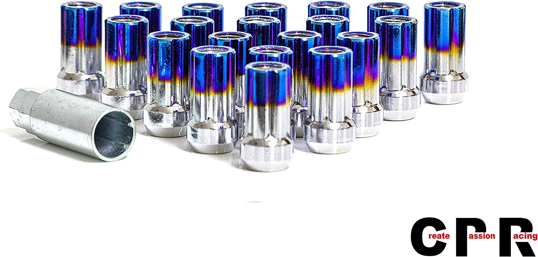 20 Unidades M12 x 1,5 RPC CPR Tuercas para Llantas de Carreras de Acero con Extremo Abierto Azul Quemado Titanio