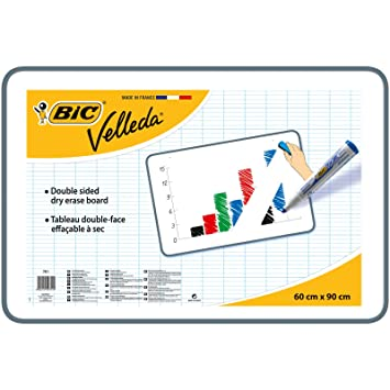 Bic Velleda seco Limpie la tarjeta blanca 60 x 90cm tablero de doble cara
