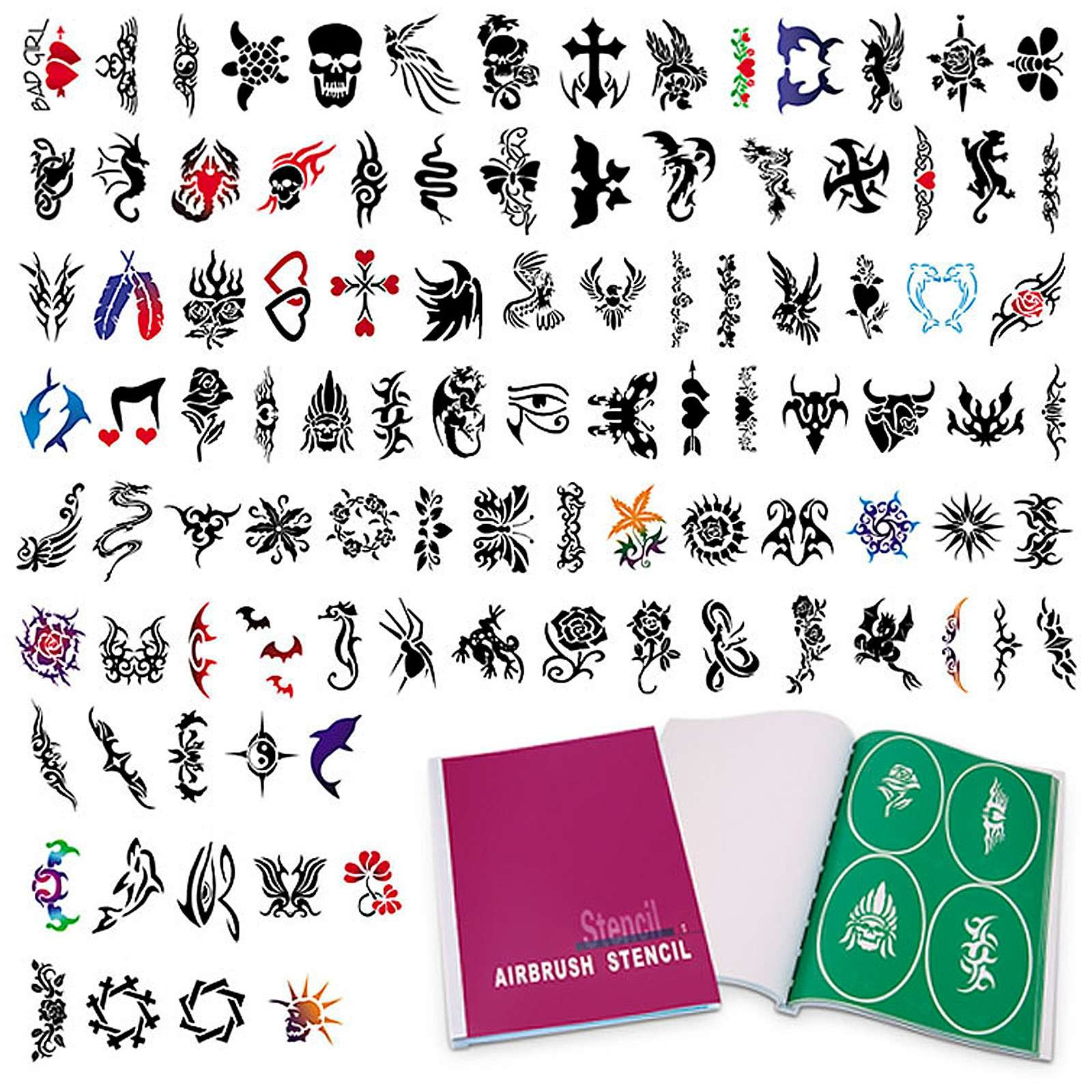 PointZero Complete Temporary Tattoo Airbrush Set - 6 Airbrushes with Compressor and 300 Stencils by PointZero Airbrush (Image #7)