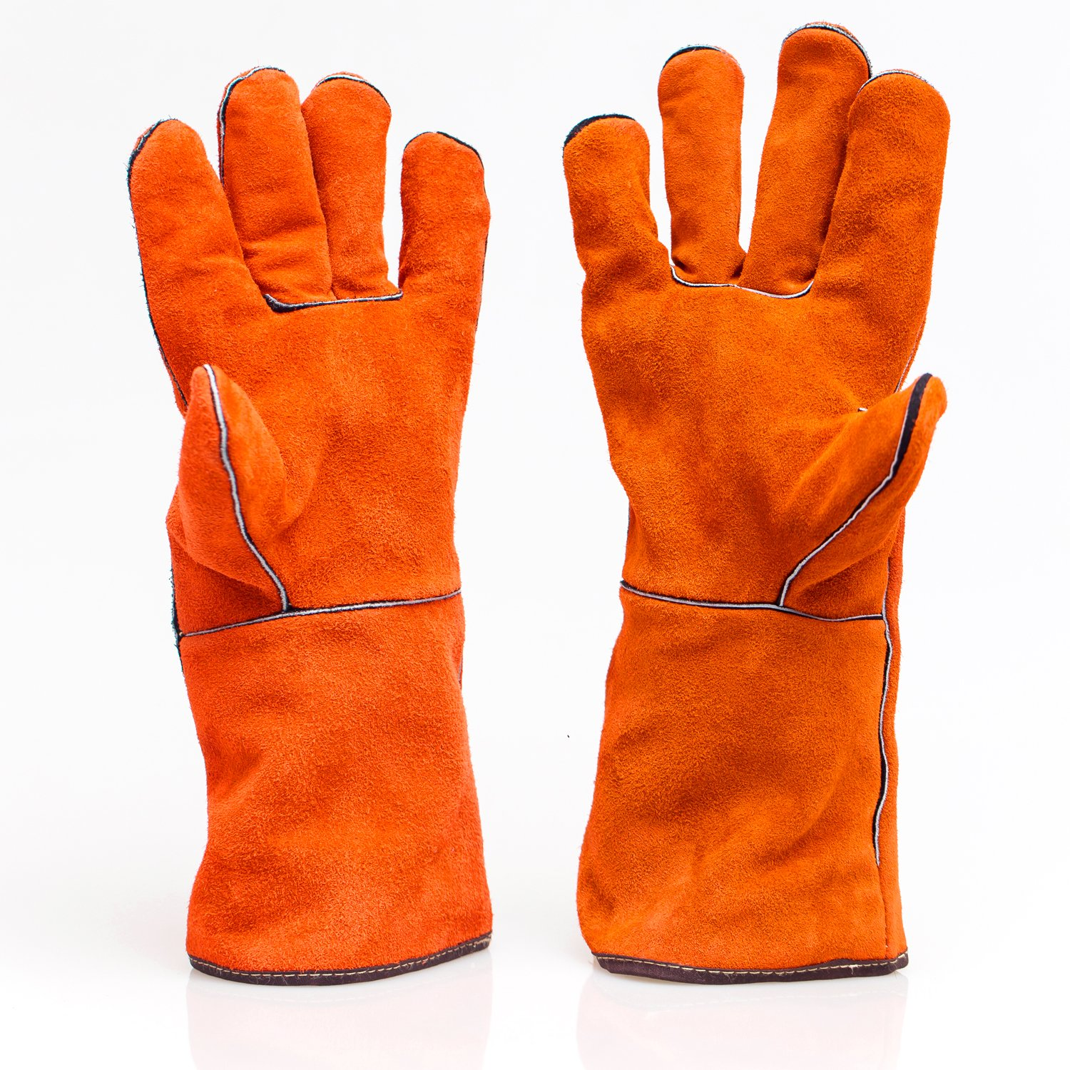 Welding Leather Gloves with Heat &Fire Resistant, Durable Soft Cotton Lining 14 Inches Extra Long Sleeve Work Gloves for Gardening/Household /BBQ/Oven/Stove(Orange)