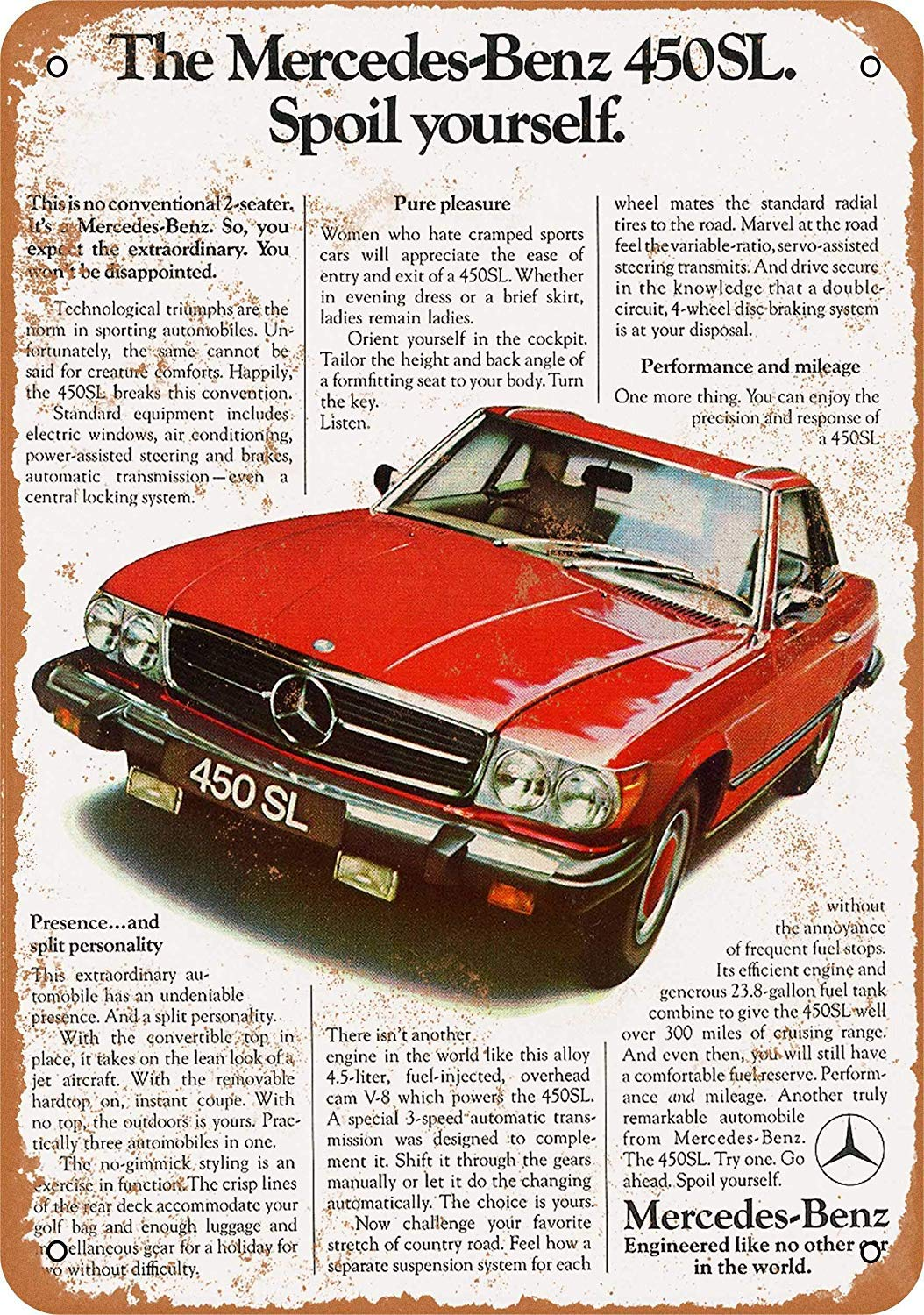 Wise Degree 1975 Mercedes-Benz 450 SL Cartel de Metal Pared ...