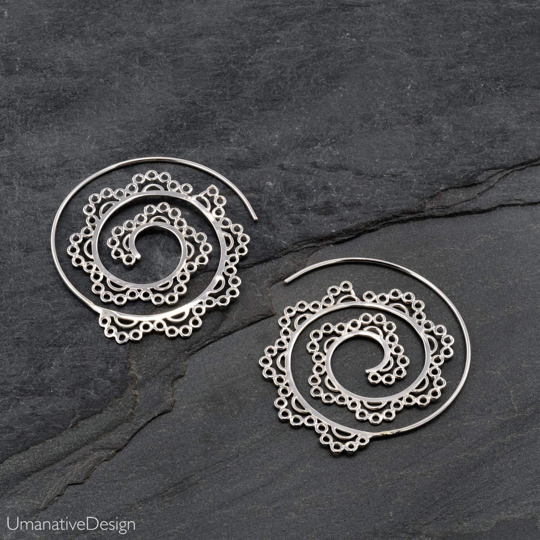 Giant Spiral Tribal Circle Earrings in Brass