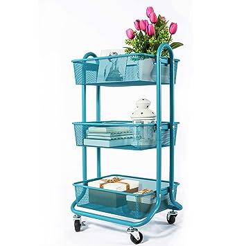 DESIGNA Carro de almacenaje enrollable de malla metálica de 3 niveles con asa de uso general, turquesa: Amazon.es: Oficina y papelería