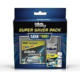 Gillette Mach 3 Manual Shaving Razor Blades - 8s Pack (Cartridge) with Pre Shave Gel (Super Saver Pack)