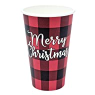 Christmas Compostable Paper Cups, 100 Count, 16oz, Merry Christmas - Red And Black Buffalo Check Plaid, Holiday Party Disposable Cups