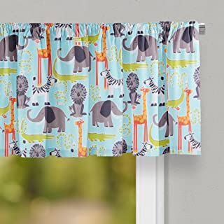 """product image for Glenna Jean Jungle Babies Curtain Valance 70""""W x18""""H for Kids Window"""