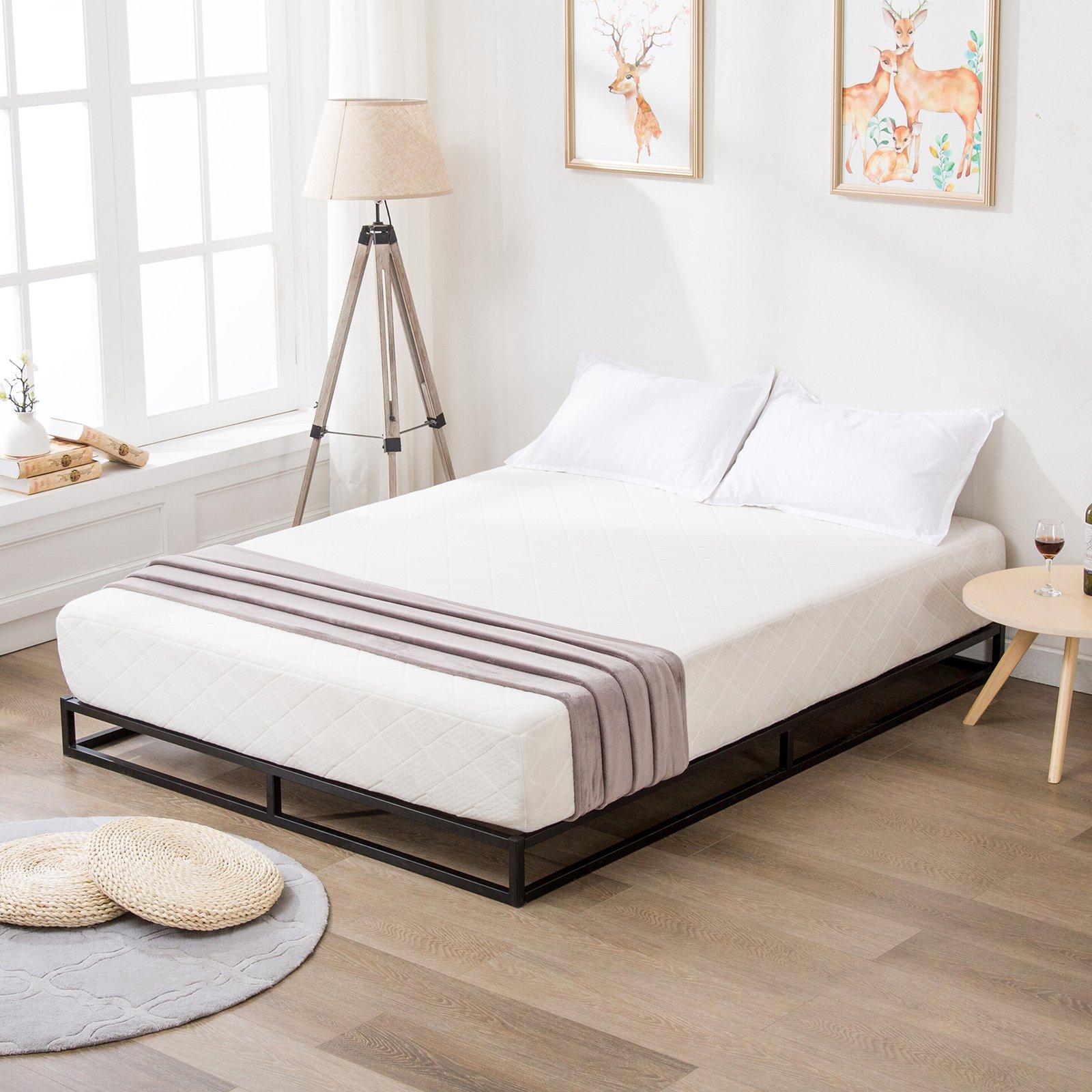 Mecor Modern Studio 6 Inch Reinforced Platforma Low Profile Bed Frame, Mattress Foundation, Boxspring Optional, Wood slat support,Full Size