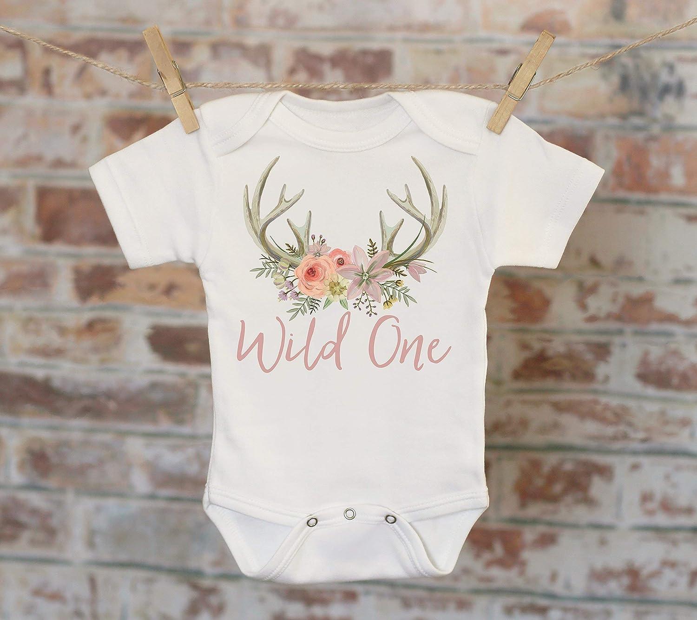 Wild One Floral Antlers in Script Onesie®, First Birthday Onesie, Rustic Onesie, Cute Onesie, Boho Baby Onesie, Girl Antlers Onesie