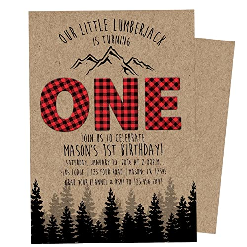 Amazon.com: Lumberjack 1st Birthday Invitations Boy ONE Birthday ...