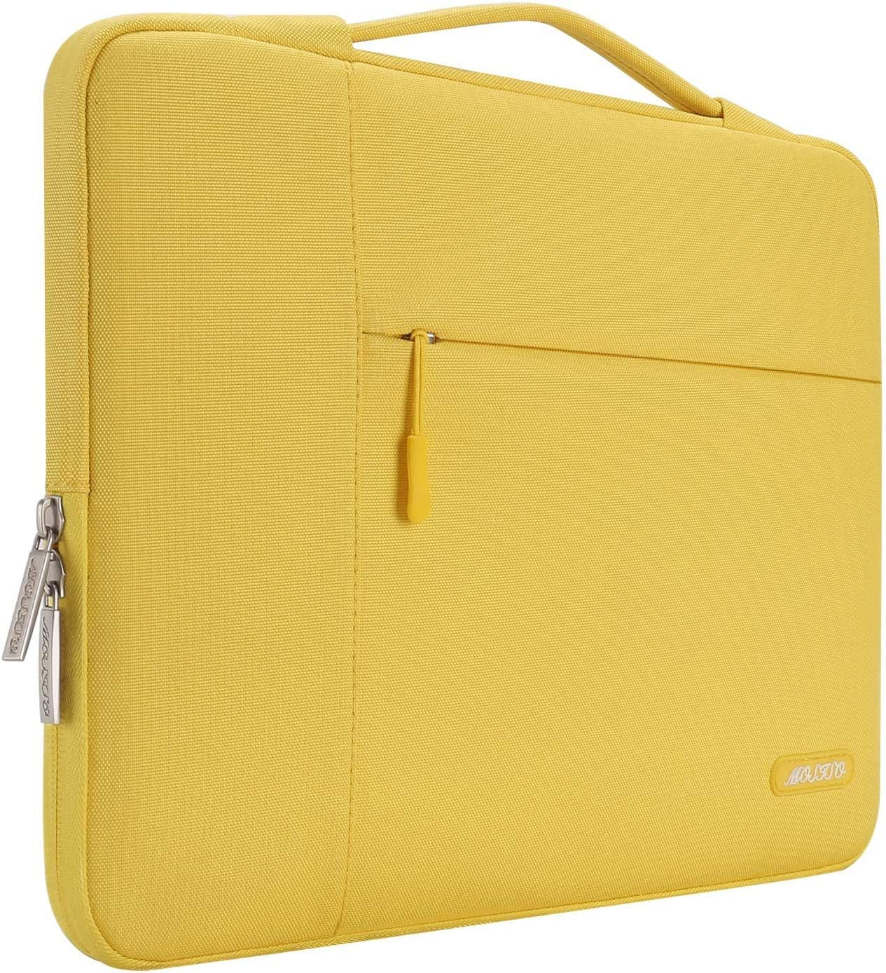 MOSISO Laptop Sleeve Compatible with MacBook Pro 16 inch, 15 15.4 15.6 inch Dell Lenovo HP Asus Acer Samsung Sony Chromebook,Polyester Multifunctional Briefcase Carrying Bag, Yellow