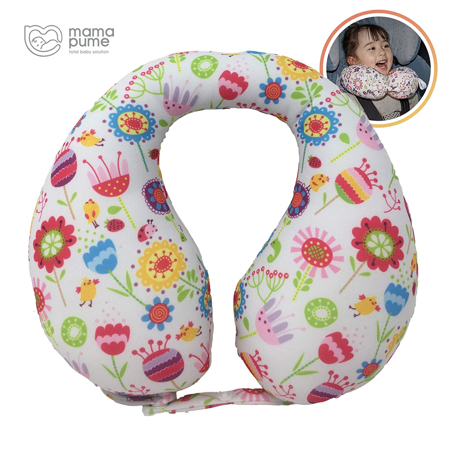 mamapume Infant car seat Head Support Travel Pillow for Kids Toddler Stroller Neck Support Pillows for Airplanes Accessories U Shaped Pillow for 6 Months to 7 Years Old (Spring Garden, M)
