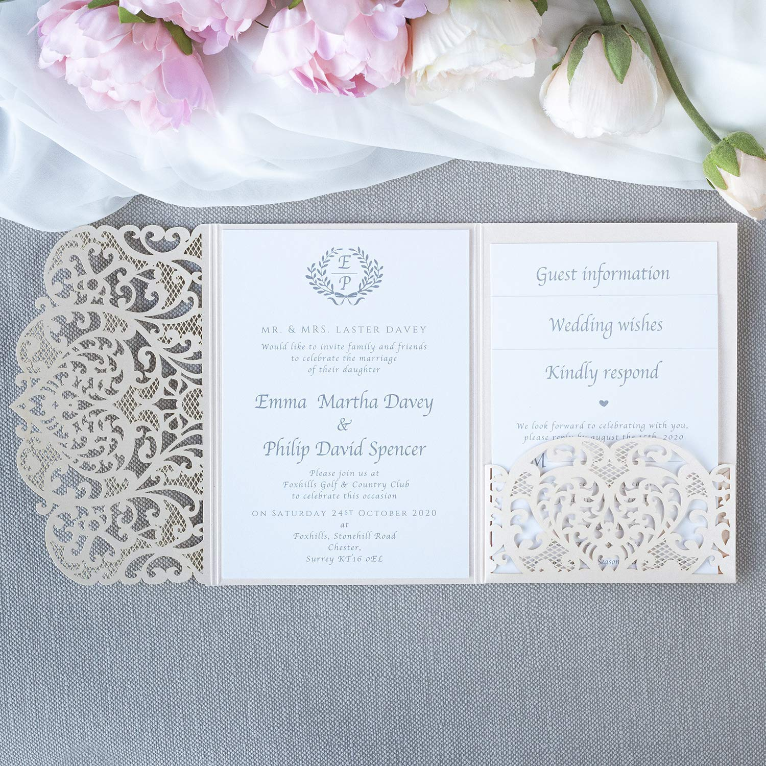 Amazon.com: 50 Cards Pack Peach Pocket DIY Laser Cut Wedding Invitations  with Envelopes Day Invite, Evening Invite, Guest Information, RSVP: Handmade