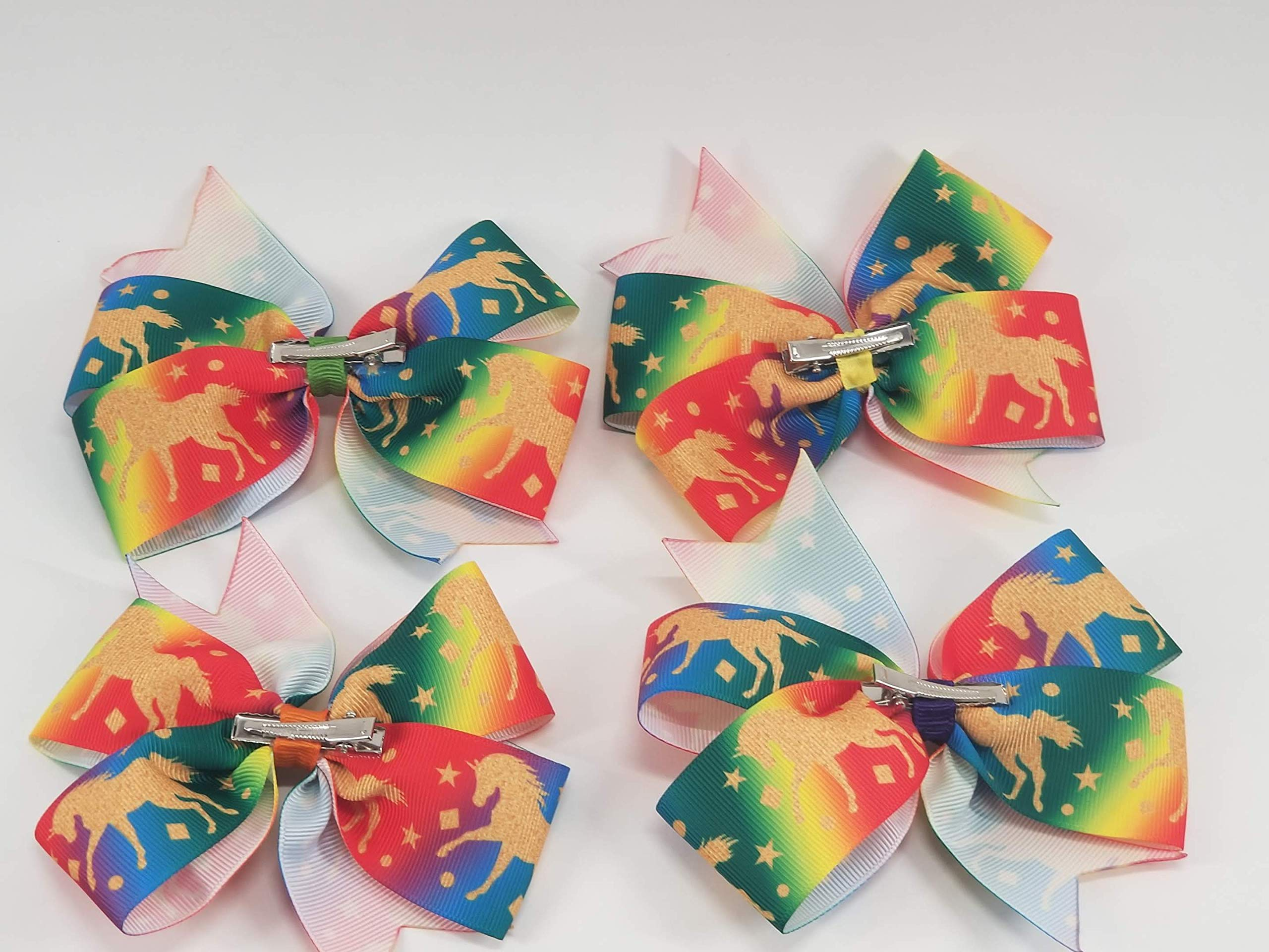 Rainbow Unicorns Hair Bow 8