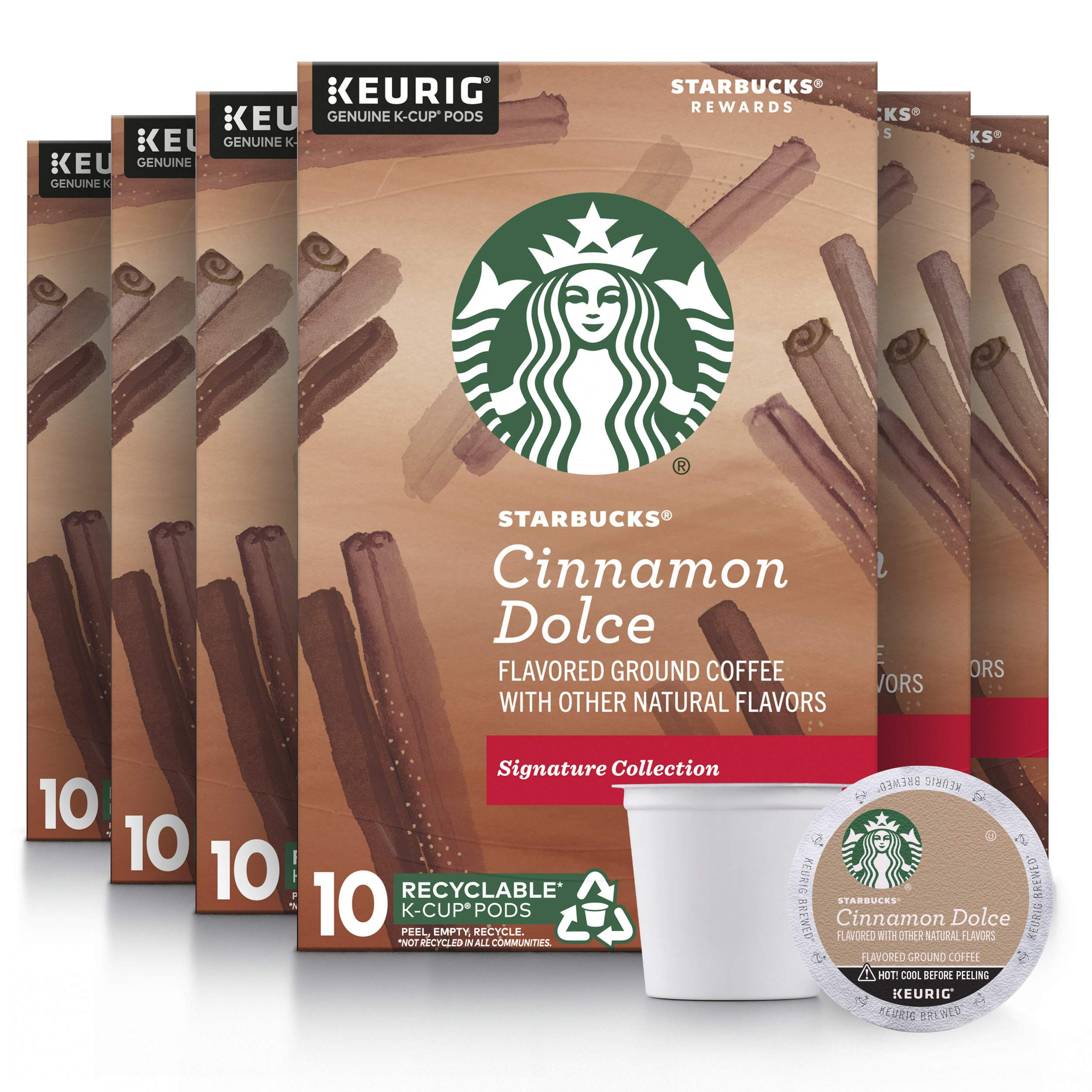 Starbucks Flavored K-Cup Coffee Pods — Cinnamon Dolce for Keurig Brewers — (60 pods total), 10 Count (Pack of 6)