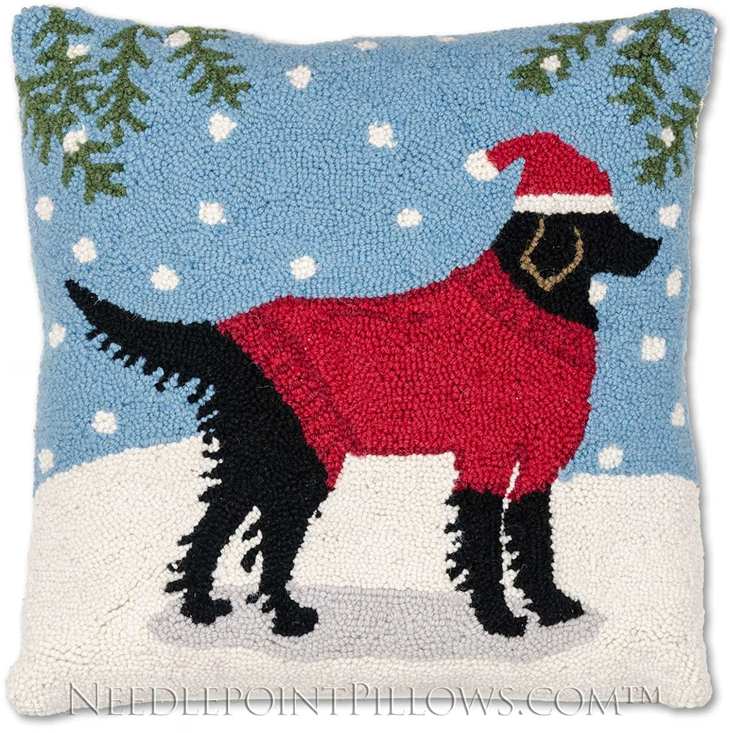 Wool Hooked Holiday Decorative Skiing Christmas Throw Pillow