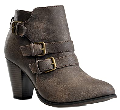 67b0354558e7b Women's Chunky Block Heel Booties Buckle Strap Fashion Shoes Dress Ankle  Boots Brown 5.5