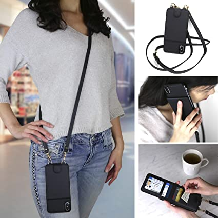 Crossbody Cell Phone Case and Wallet Compatible with iPhone Xs Max Cross Body Phone Purse Bag with Five Card Slots Including Transparent ID Holder and Adjustable 48 to 54 Inch Strap by Gear Beast