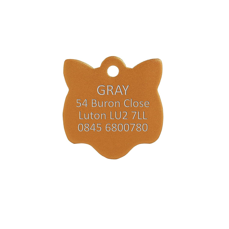 Bow Wow Meow Personalizado Chapa identificativa de Aluminio para Gatos con Forma de Cara de Gato en Color Plateado (Pequeño) | Servicio DE Grabado: ...