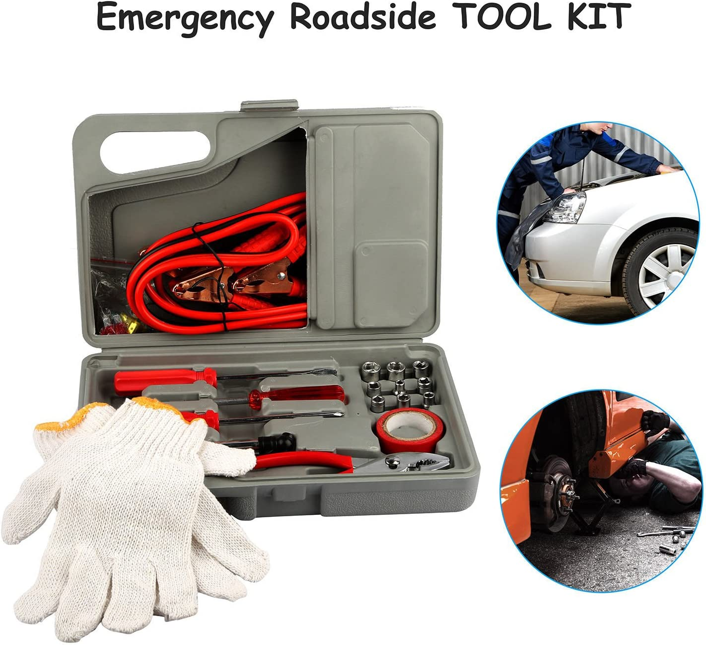Jumper Cables Sockets Drivers with Bonus Gloves AVGDeals 31 Pieces Emergency Roadside Car Tool Kit Jumper Drivers Cables Gloves Socket 31 Piece w