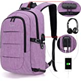 Tzowla Business Laptop Backpack Water Resistant Anti-Theft College Backpack with USB Charging Port and Lock 15.6 Inch Computer Backpacks for Women Girls, Casual Hiking Travel Daypack (A-Purple)