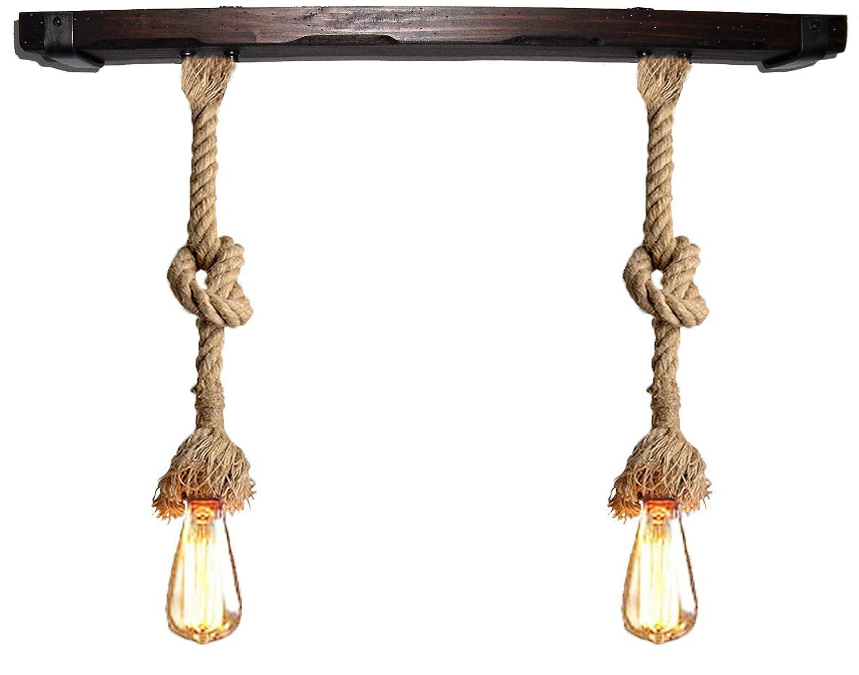 Lámpara con cuerda de yute 30 mm vintage y madera. De 2 luces E27: Amazon.es: Iluminación