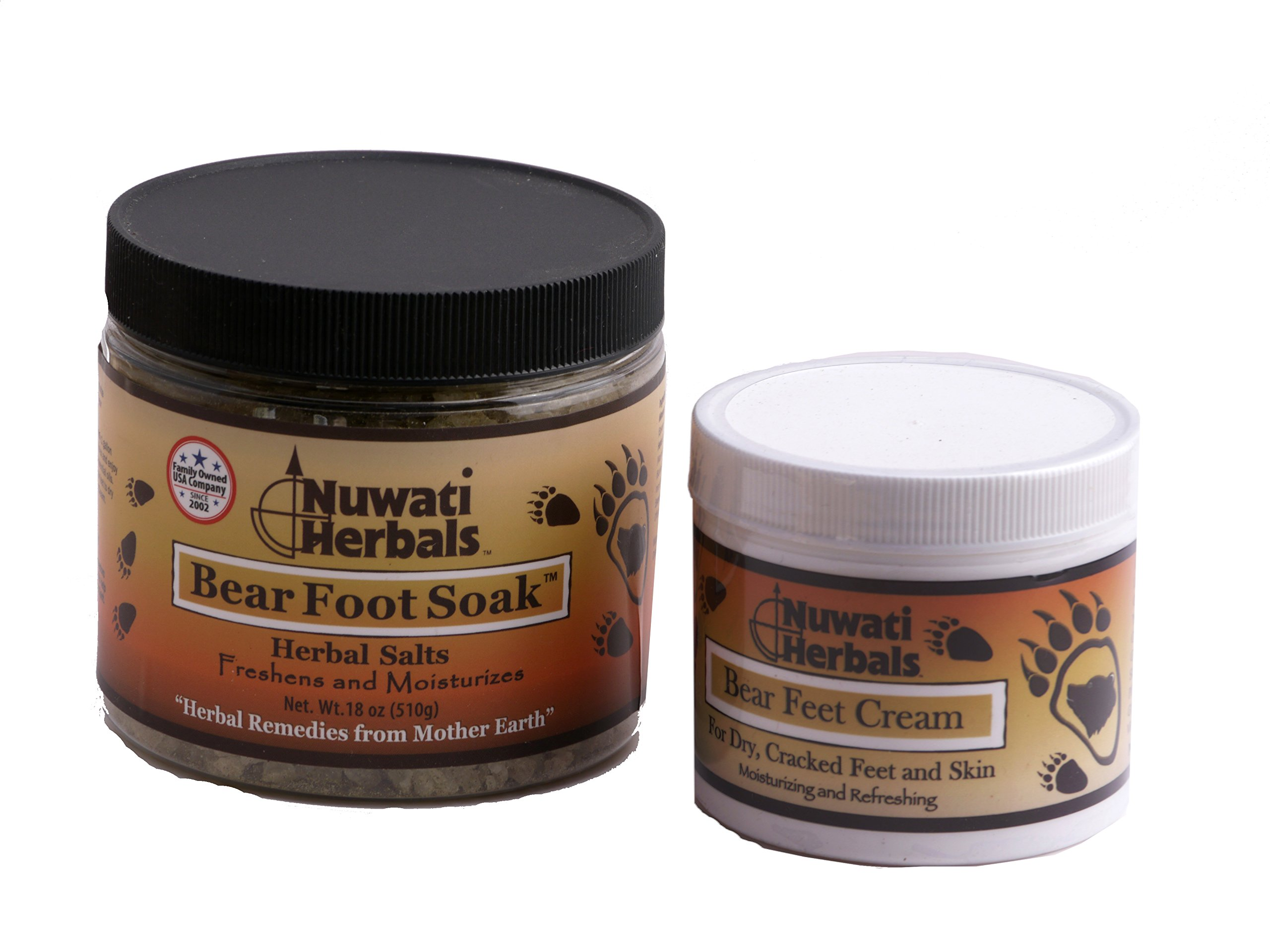 Nuwati Herbals - Foot Care Package - Freshens and Moisturizes Feet - Includes Bear Foot Herbal Soak Salts and Cream for Dry Cracked Feet
