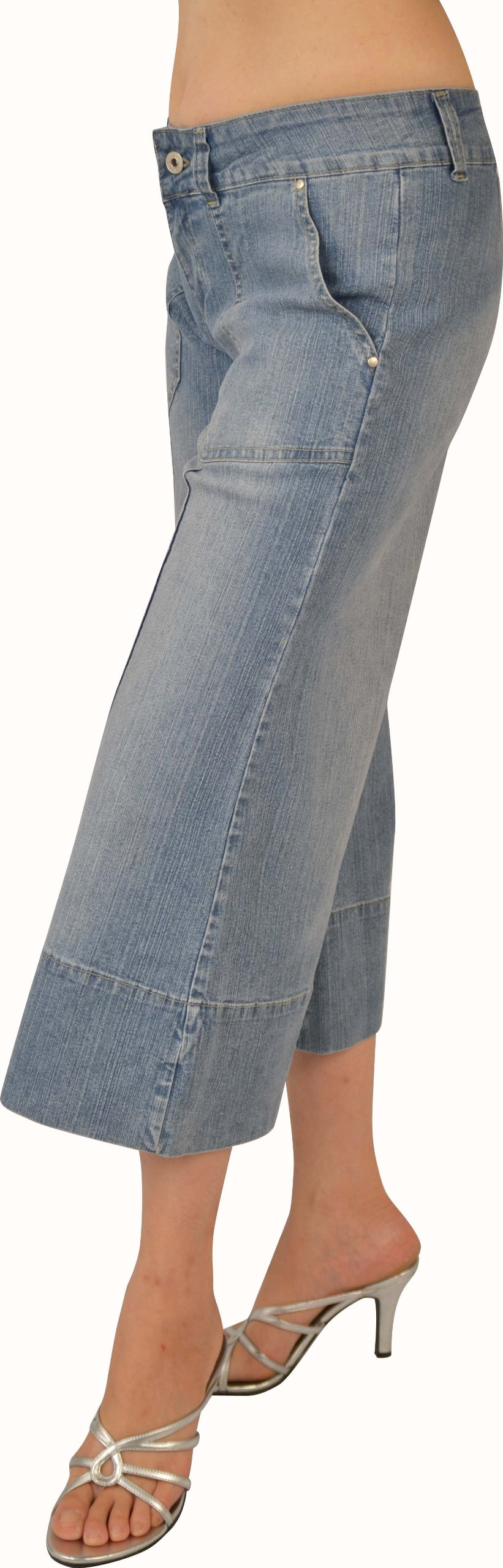 Kit Womens Lt. Sand Blue Stretch Denim Gaucho #L217 Size: 9 by KEEP IN TOUCH (Image #3)