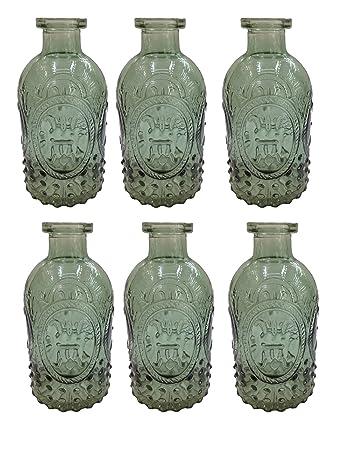Dekoflasche 6 Stück grün Glasflasche Vintage Landhaus Likörflasche Korkengläser
