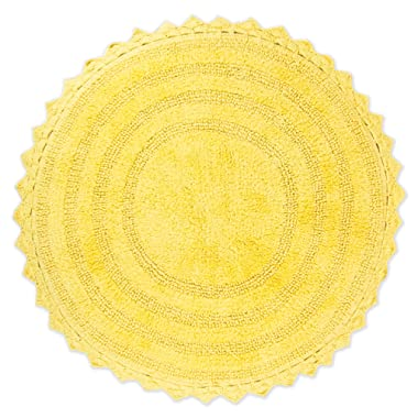 DII Ultra Soft Spa Cotton Crochet Round Bath Mat or Rug Place in Front of Shower, Vanity, Bath Tub, Sink, and Toilet, 28  - Yellow