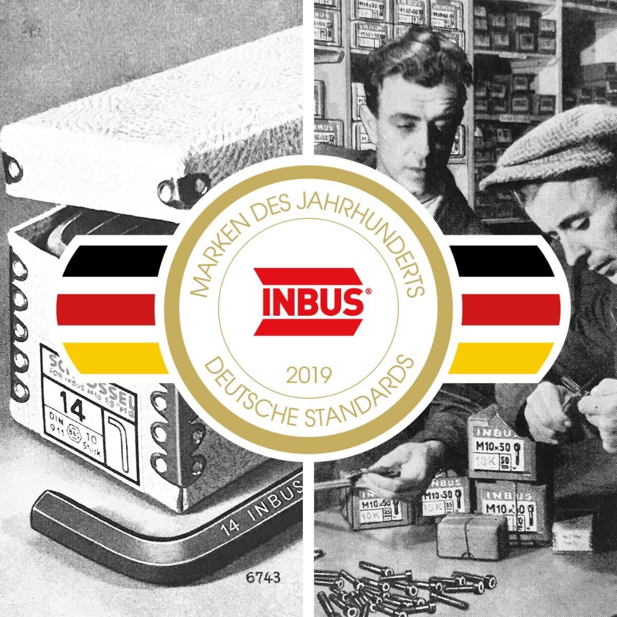 INBUS/® 76886 Inbusschl/üssel Set T-Griff mit HybridTouch 6tlg 2.5-8mm I Made in Germany