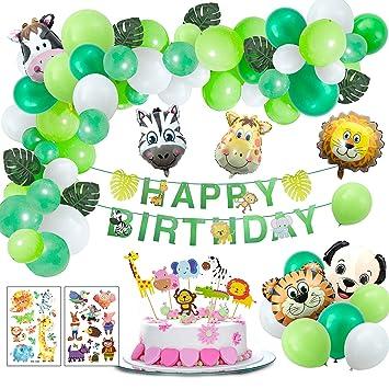 Joeyer Selva Fiesta de Cumpleaños Decoracion, Globo de Aluminio Safari Bosque Animal Cumpleaños Globos con Hojas para Niño Cumpleaños Baby Shower ...