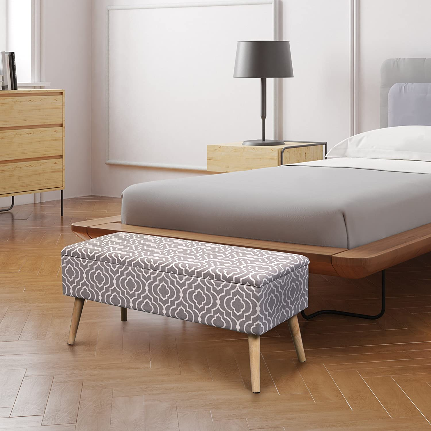 Otto Ben 37 Storage Bench – Mid Century Ottoman with EASY LIFT Top, Upholstered Shoe Ottomans Seats for Entryway and Bedroom, Moroccan Grey