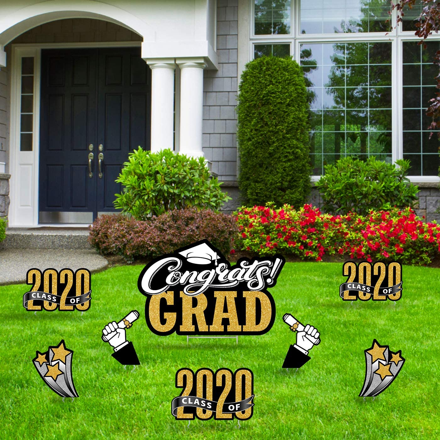 Amazon Com Bigtime Signs Graduation Yard Signs 8 Pc Corrugated Plastic Party Outdoor Decorations Congrats Grad Greetings Class Of 2020 Stars Diploma Hand Waterproof Lawn Decor With Metal Stakes Garden Outdoor