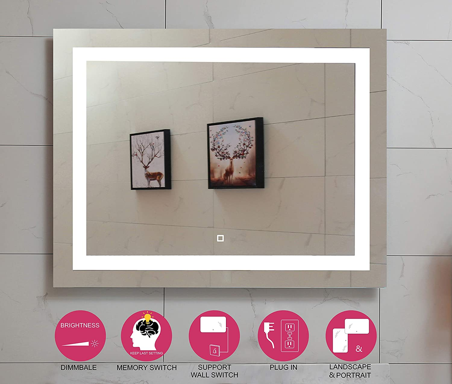 48X36 Inch LED Lighted Bathroom Mirror with Dimmable Touch Switch GS099D-4836 48×36 inch New