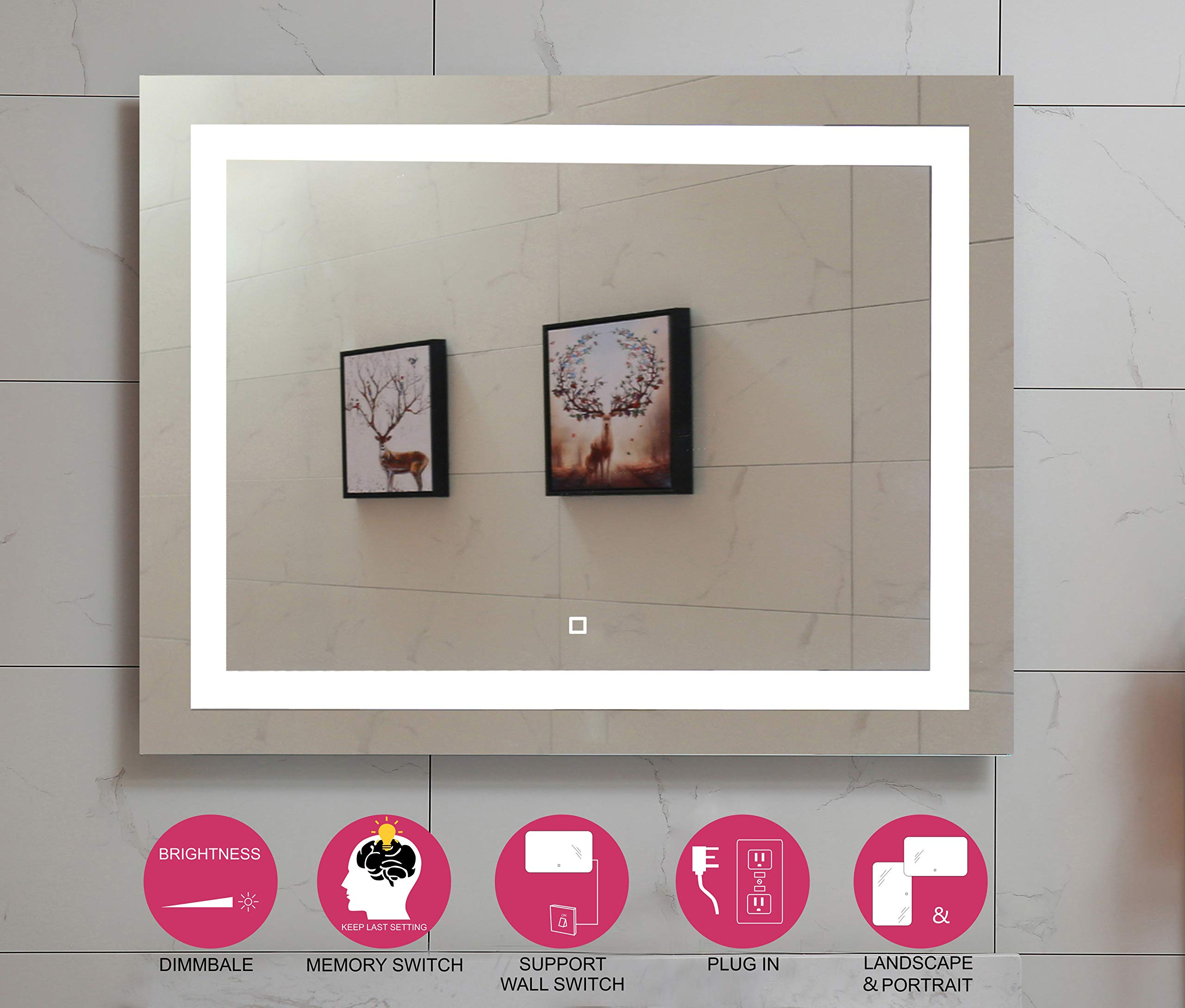 48X36 Inch LED Lighted Bathroom Mirror with Dimmable Touch Switch (GS099D-4836) (48x36 inch New) by GS MIRROR