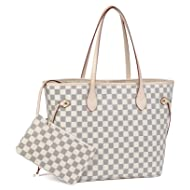 Daisy Rose Checkered Tote Shoulder Bag with inner pouch - PU Vegan Leather
