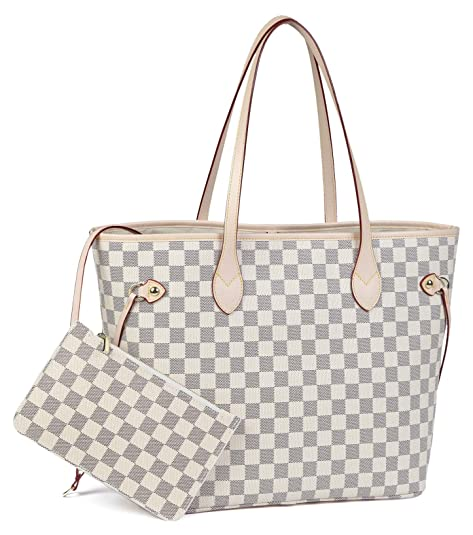Daisy Rose Checkered Tote Shoulder Bag with inner pouch - PU Vegan Leather (Cream)