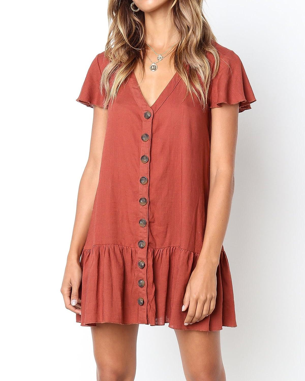 e0838bf5b67 Saodimallsu Womens Ruffles Short Sleeve Button Down Loose Dresses Casual V  Neck Tunic T-Shirt Dress at Amazon Women s Clothing store