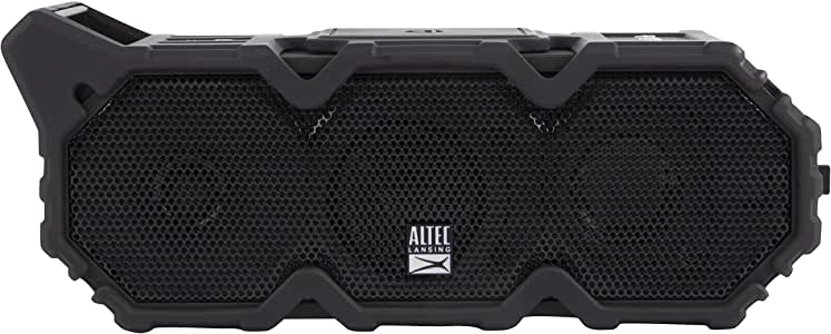 Altec Lansing Imw790-Blk Lifejacket XL Jolt Heavy Duty Rugged and Waterproof Portable Bluetooth Speaker with QI Wireless Charging, 20 Hours of Battery Life, 100ft Wireless Range and Voice Assistant